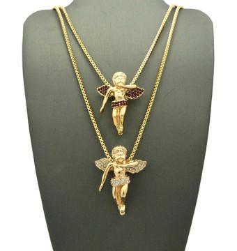 Hip Hop Gold Cz Winged Cherubim Pendant Chains Set Ruby