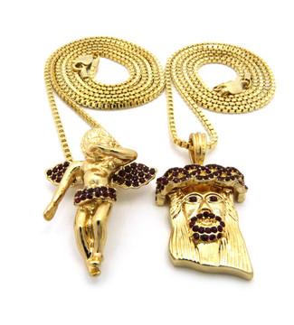 14k Hip Hop Jesus Gold Winged Cherub Pendant Chains Set Ruby