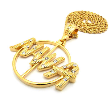 Hip Hop Old School NWA Rope Chain Link Pendant Chain Gold