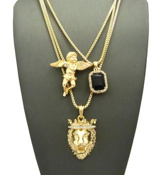 Jesus Lion Of Judah Micro Cherub Black Onyx Iced Out Chain