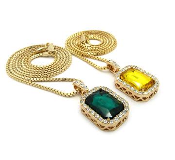 Hip Hop Onyx Shield Pendant w/ Box Chain Yellow Green