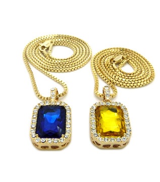 Hip Hop Onyx Shield Pendant w/ Box Chain Yellow Blue