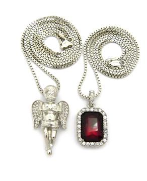 Diamond Cz Angel Winged Cheurb Onyx Pendant Silver Red