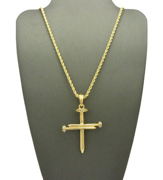 Jesus Iced Out Cz Nail Cross Pendant Rope Chain Gold