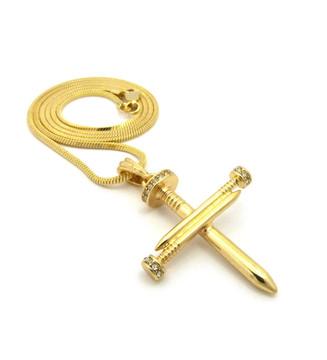 Men's Jesus Cz Bling Nail Cross Pendant Snake Chain Gold