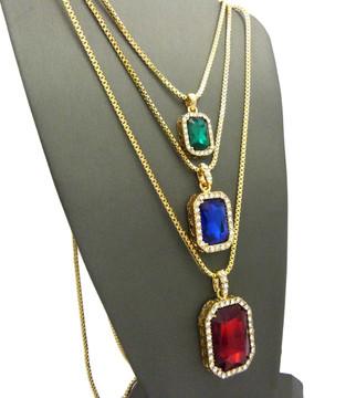 Men's Hip Hop Green Blue Red Diamond Cz Onyx Shield Chains