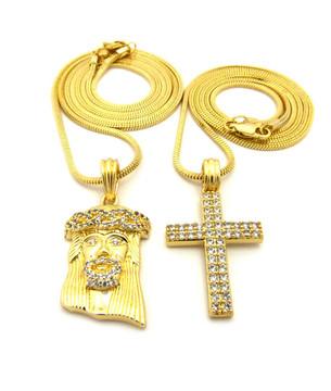 High Class Ultra Baller Jesus Double Row Cross Pendant Snake Chain