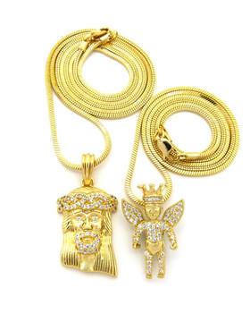 High Class Ultra Baller Jesus Crowned Angel Cherub Pendant