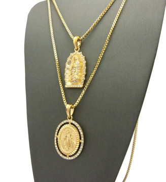 14k Gold GP Virgin Mother Mary Simulated Diamond Pendant Chain
