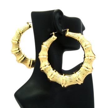 "Ladies Bamboo Gold 3.25"" Orignal Lightweight Door Knocker Earrings"