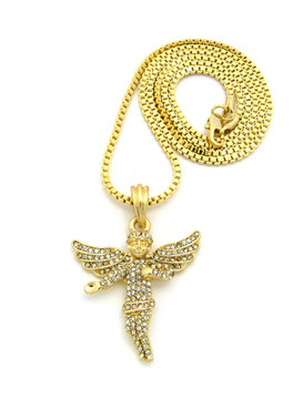 Diamond Cz Stone Covered Winged Angel Pendant Gold Box Chain