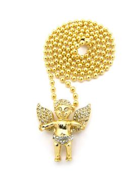 Diamond Cz Angel Cherub Pendant