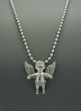 Open Arms Diamond Cz Angel Cherub Pendant Ball Chain Silver