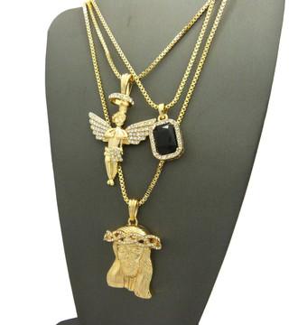 Iced Out Diamond Cz Halo Angel Jesus Black Onyx Pendant Chain