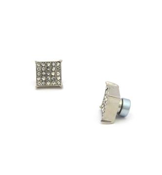"Mens Bling Kite Cut Diamond Cz Magnetized Earrings 0.4"" Silver"