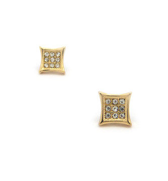 Mens Iced Out Kite 9 Cut Concave Cz Magnetized Earrings Gold
