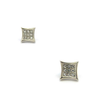 Mens Iced Out Kite 9 Cut Concave Cz Magnetized Earrings Silver