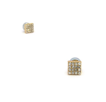 Mens Bling Borderless Diamond Cz Magnetized Earrings Gold