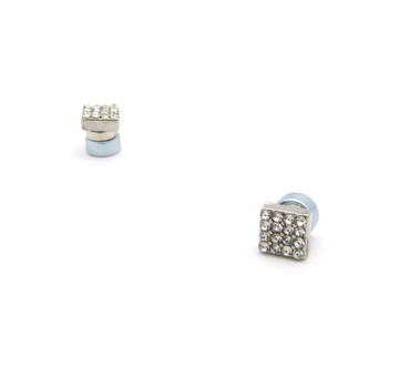 Mens Bling Borderless Diamond Cz Magnetized Earrings  Silver