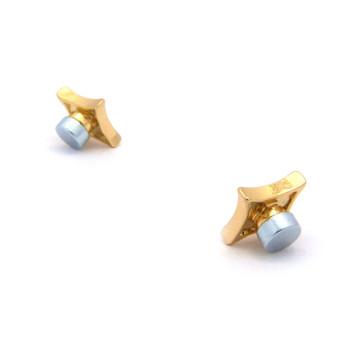 Iced Out Deep Set Kite Diamond Cz Magnetized Earrings Gold