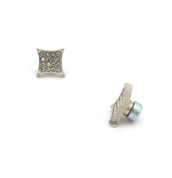 Iced Out Deep Set Kite Diamond Cz Magnetized Earrings Silver