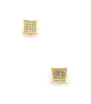 """Mens 0.35"""" Kite Iced Out Diamond Cz Magnetized Earrings Gold"""