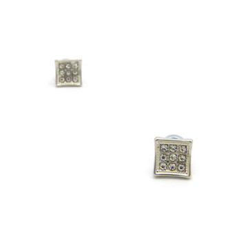 Mens Small Square Cut Diamond Cz Magnetized Earrings Silver
