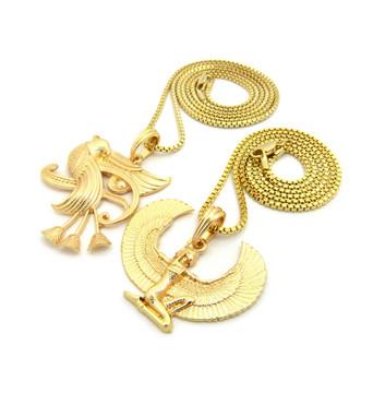 Eye Of Ra Horus Falcon Goddess Maat Egyptian Chain Set