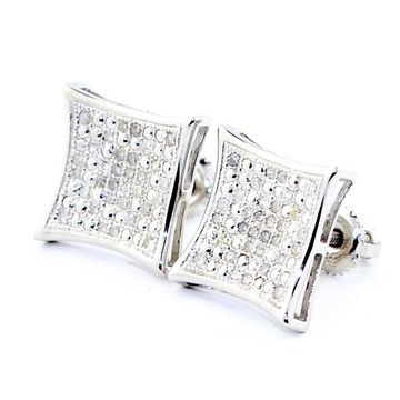 Mens 1/5 cttw 11mm Diamond Kite Earrings w/ Pave Set Diamonds