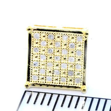 Mens Bling Bling Yellow Gold Square 8.84mm Diamond Earrings