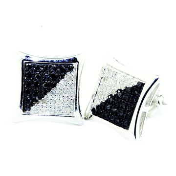 Mens Iced Out Black White Diamond Sterling Silver Earrings 9.05mm