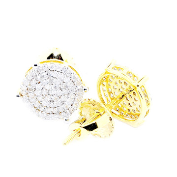 Mens 0.35CTTW 10k Yellow Gold 8mm Round Cluster Earrings
