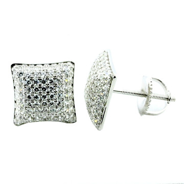 Iced Out Simulated Diamond Silver 9.19mm  Micro Pave Earrings