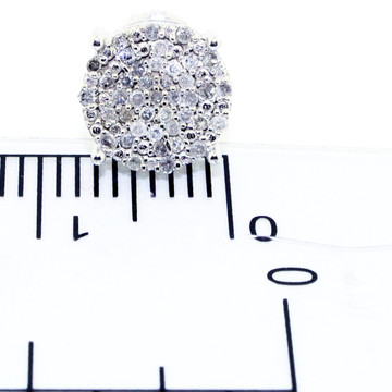 Mens Iced Out 10K White Gold Cube Dice Earrings Pave Diamonds