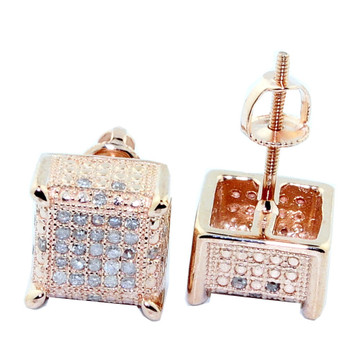 10K Rose Gold Cube Earrings Large 8.76mm wide 0.3cttw Pave Set