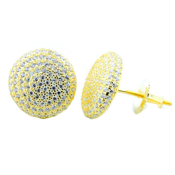 Mens 11mm Yellow Silver Round Cluster Pave Fashion Earrings