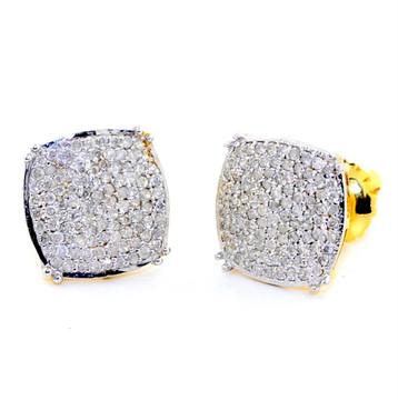Mens 10K Gold 0.4CTTW Diamond 9.27mm Earrings