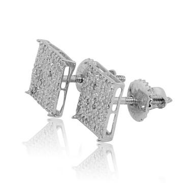 Mens 0.18CTTW 7mm Diamond 10K White Gold Stud Earrings