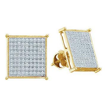 Mens 0.18CTTW 7mm Diamond 10K Yellow Gold Stud Earrings