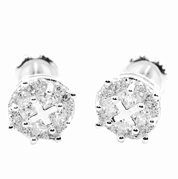 Mens 8mm Round Pave Cubic Zirconia Stud Earrings Sterling Silver