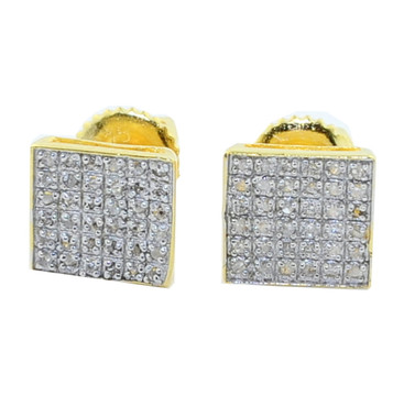 Mens Iced Out 1/5CTTW Diamond Earrings Yellow Silver 7.75mm