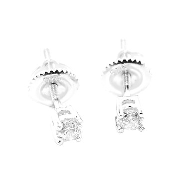 3.5MM Simulated Diamond Round Stud Iced Out Earrings Sterling Silver