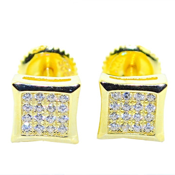 7MM Bling CZ Stud Earrings Sterling Silver Kite Shape Gold Tone