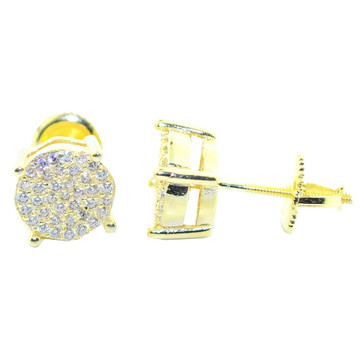 8.5MM Round Simulated Diamond Earrings Sterling Silver Gold Tone