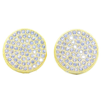12.5MM Round Simulated Diamond Bling Earrings Silver Gold Tone
