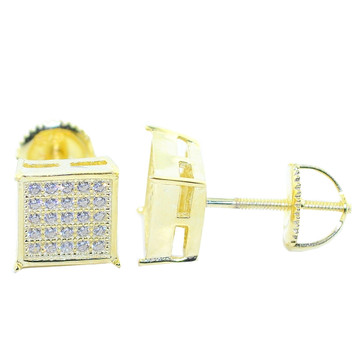 8MM Wide CZ Iced Out Studs Gold Tone Silver Square Shaped