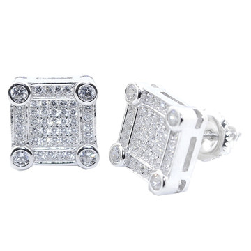 10.5MM Wide CZ Bling Earrings Silver Large Square