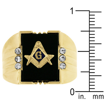 Men's 18k Gold Onyx Masonic Iced Out Ring