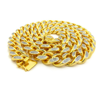 Mens 14k Gold Hand Set Top Quality Stone Cuban Link Chain