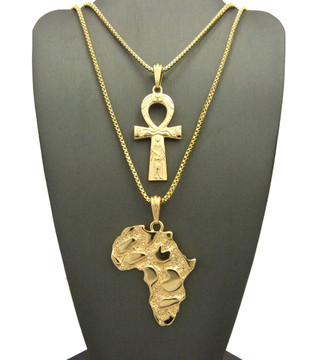 14k Gold Ankh Ancient African Continent Pendant Set